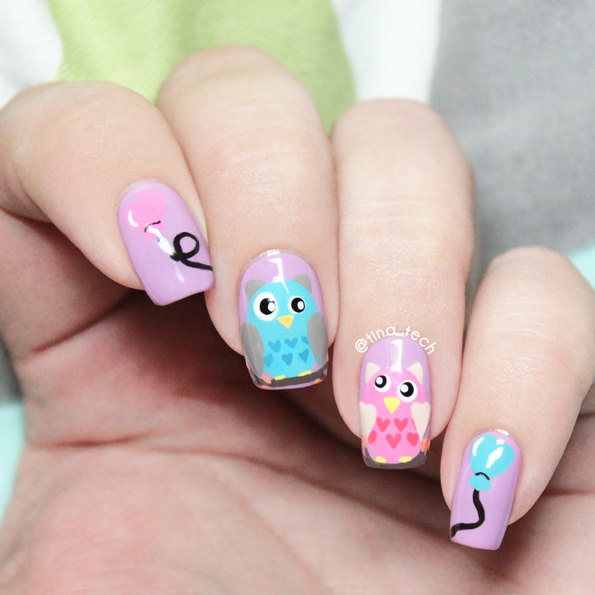 Colorful Owl Nail Art Tinatech