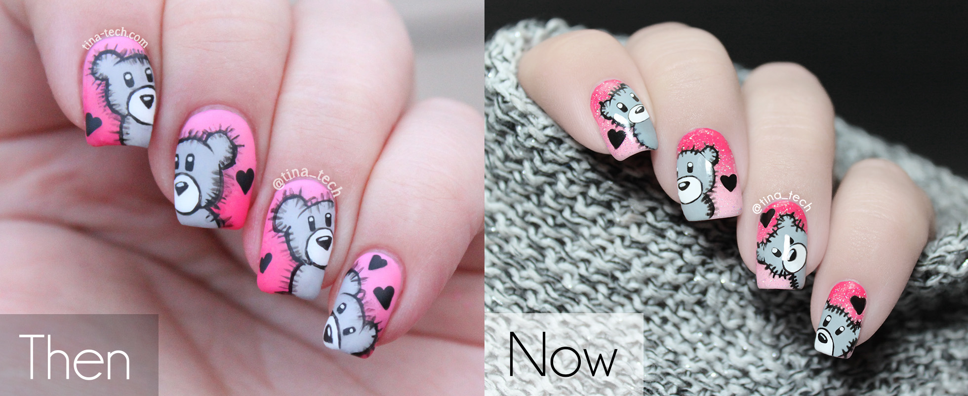 Then and Now - Cute Teddy Bear Nail Art