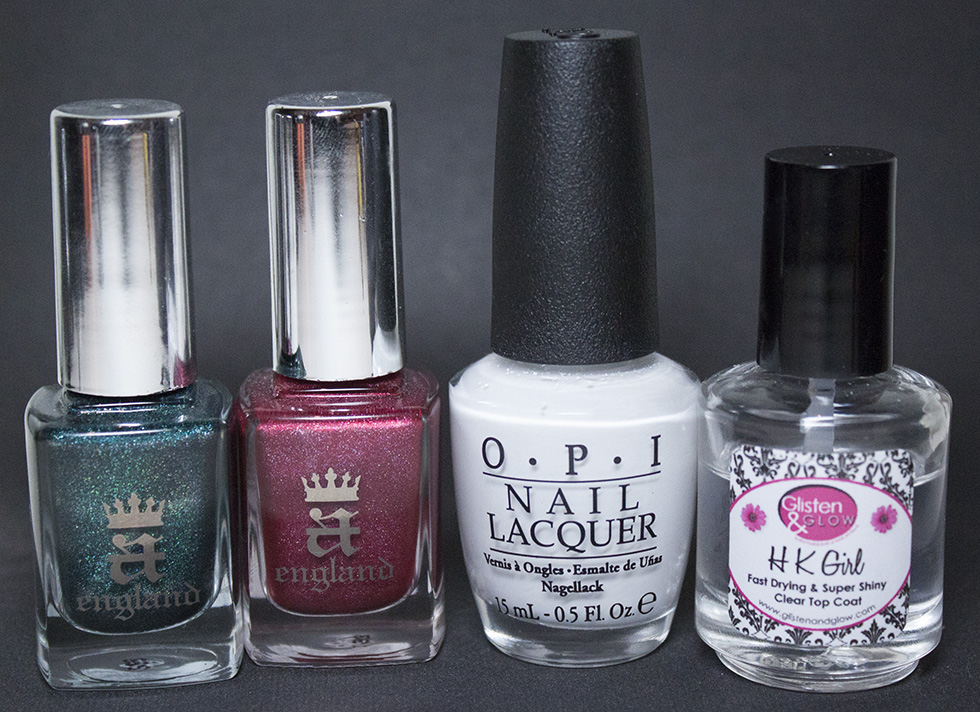 A-England - Saint George, A-England - Rose Bower, O.P.I - Alpine Snow and G&G - HK Girl Top Coat