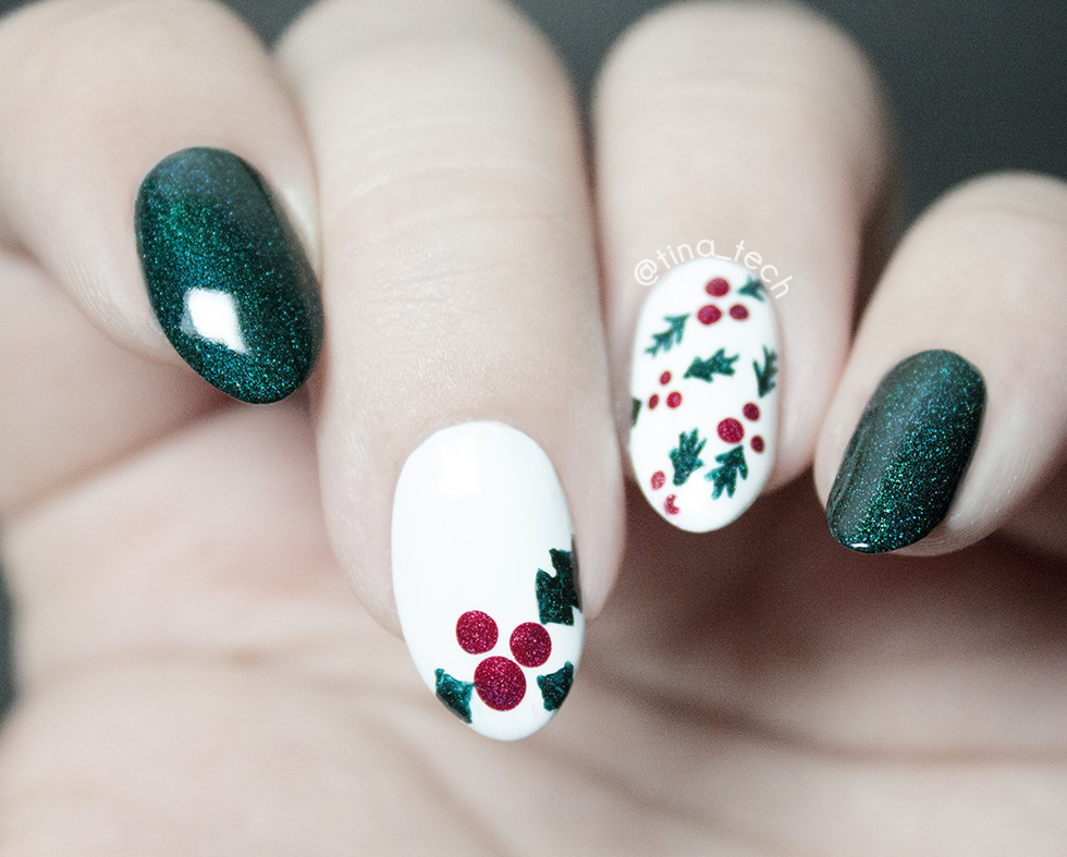 A-England - Saint George, A-England - Rose Bower, O.P.I - Alpine Snow and G&G - HK Girl Top Coat Holly Nail Art