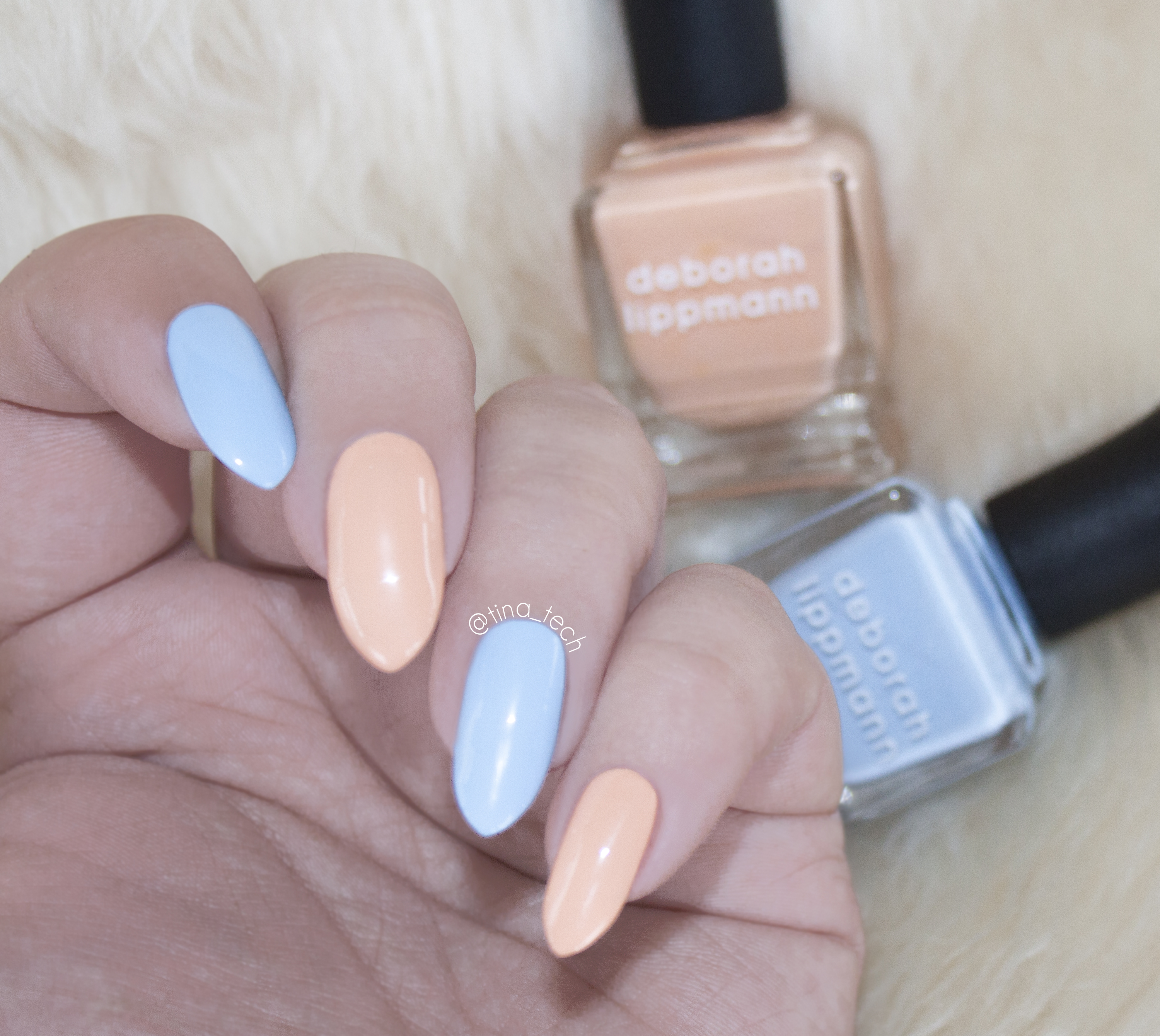 Deborah Lippmann Easter Manicure Blue Orchid and Tiptoe Through the Tulips