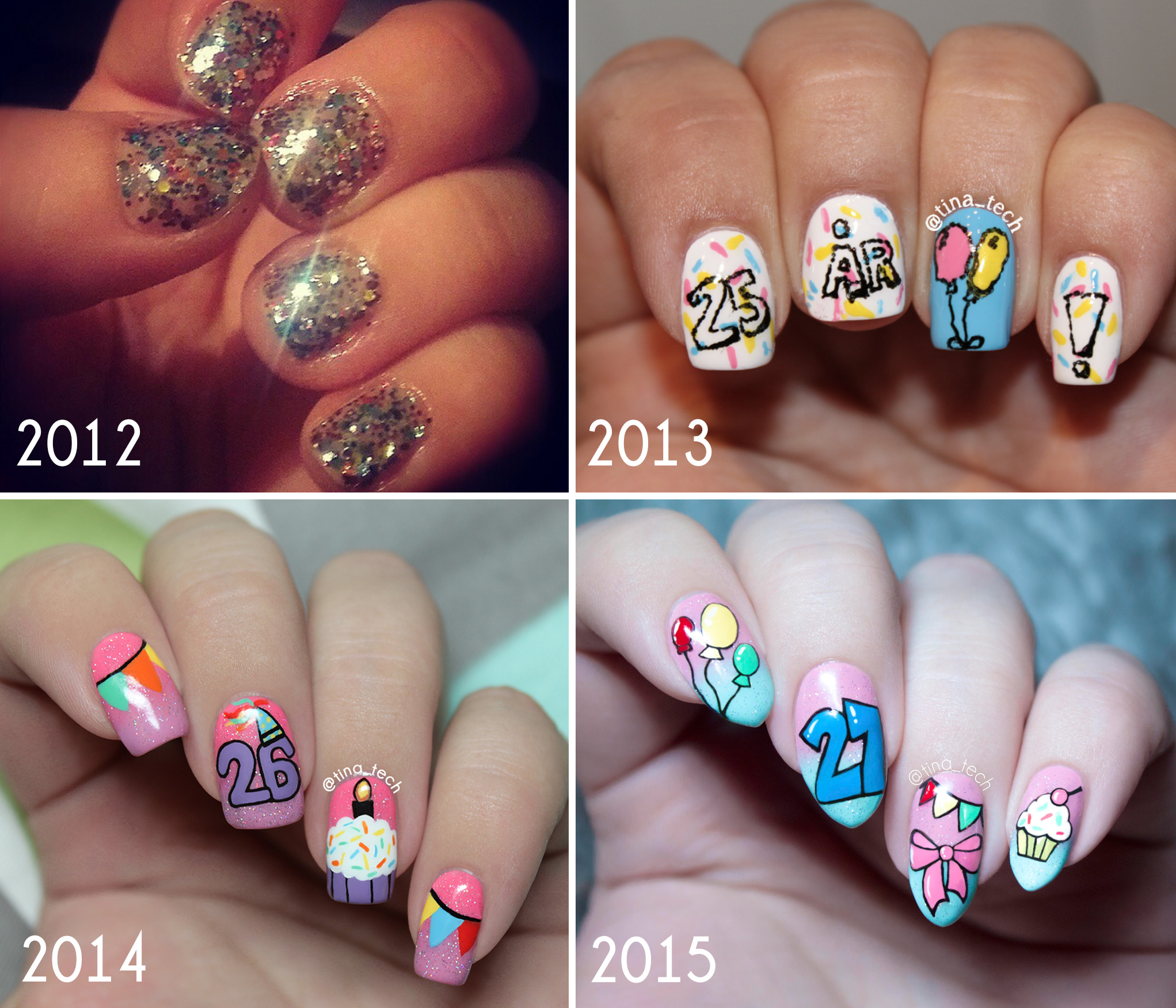 Birthday Nails - Then and Now