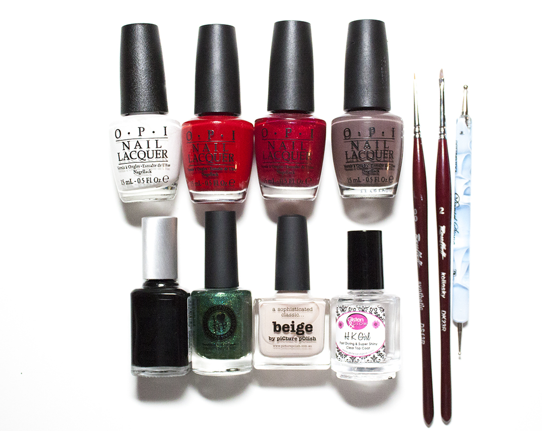 OPI - Alpine Snow, OPI - Big Apple Red, OPI - Ali's Big Break, OPI - You Don't Know Jacques, TL Design - Amsterdam, ILNP - A Fresh Evergreen, piCture pOlish - Beige, G&G – HK Girl Top Coat, A dotting tool, Roubloff kolinsky DK23R 00 and 02 nail art brush