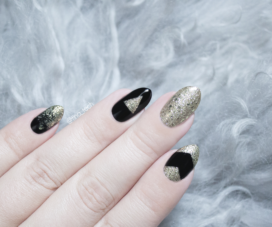 Gold and Black Party Nails