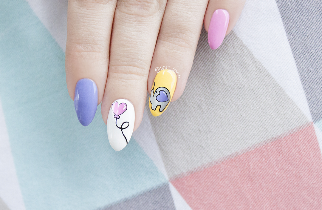 Cute Elephant Nail Art