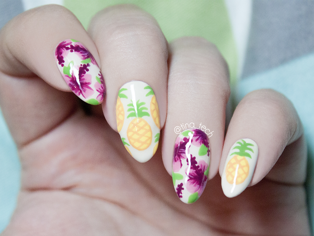 Pinapple and hibiscus nails