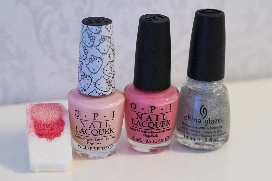 OPI - Small + Cute = <3, OPI - Kiss Me I'm Brazilian, China Glaze - Fairy Dust, Make-up sponge from H&M