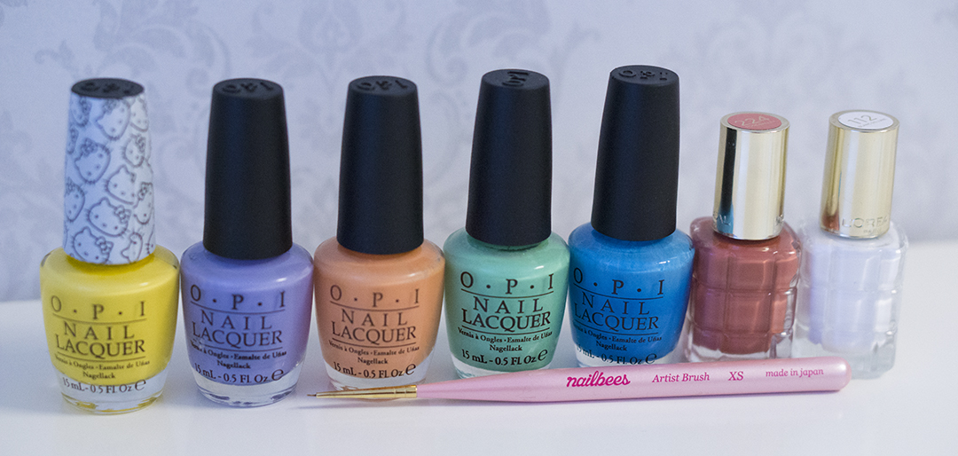 OPI - My Twin Mimmy OPI - You're Such a Budapest OPI - Where Did Suzi's Man-Go? OPI - You Are So Outta Lime! OPI - No Room For The Blues L'Oréal - 224 Rose Ballet L'Oréal - 112 Blanc De Lune Nail Art Brush from Nailbees – XS